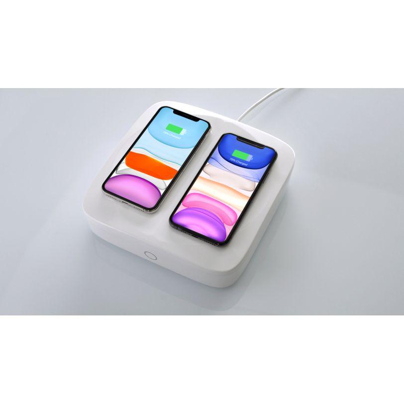 Base ricarica Wireless Doppia con Lampada UV-C LED germicida