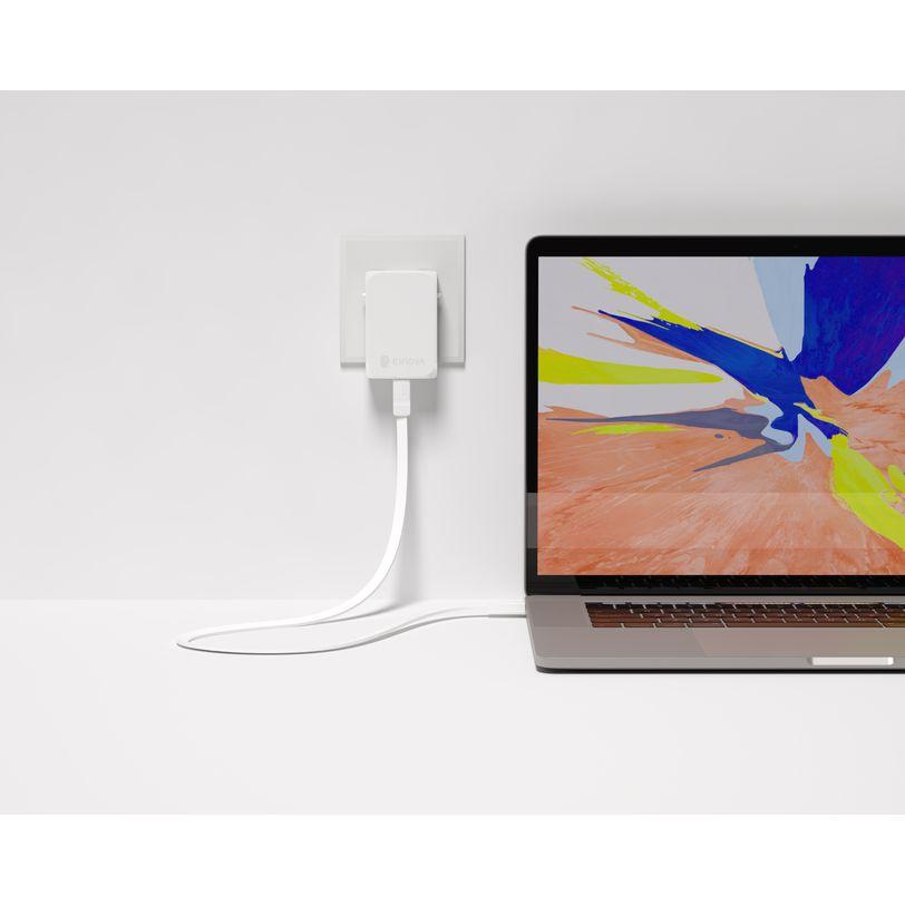 Caricabatterie PC 65W pratico, potente e compatto con cavo USB-C e spina modulabile