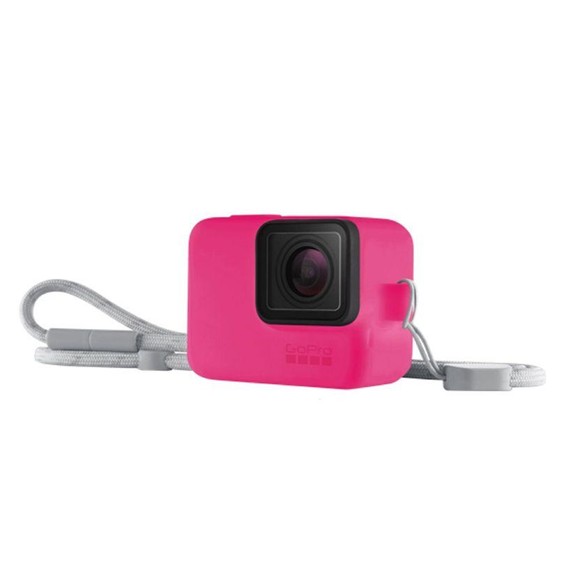 Guaina in silicone con lanyard - Electric Pink