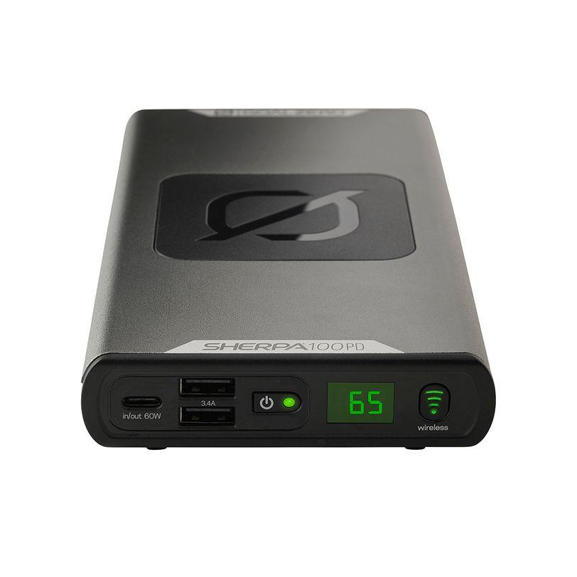 Power Bank sottile e compatto Goal Zero Sherpa 100PD da 25.600mAh con porte USB e ricarica wireless