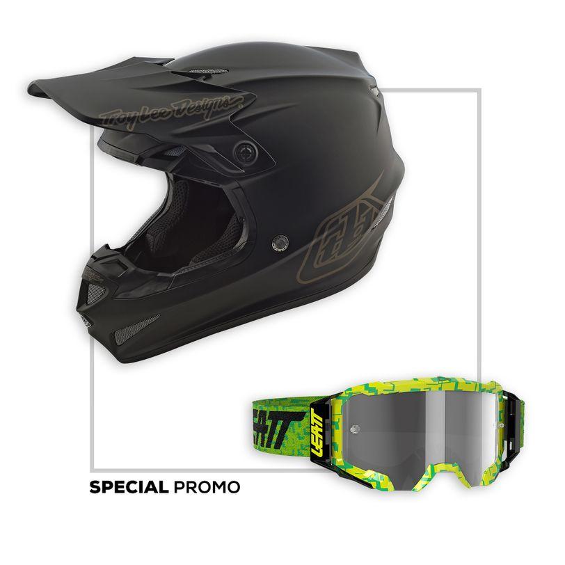 Promo Kit Casco Moto SE4 Polyacrylite Mono Troy Lee Designs e Maschera Moto Velocity 5.5 Leatt