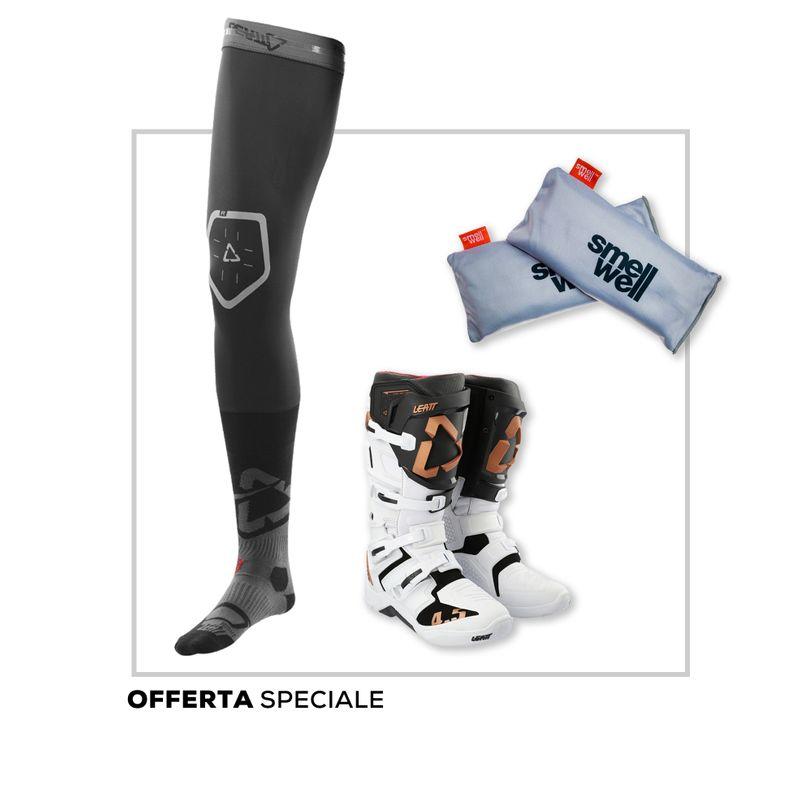 Promo kit Stivali Motocross 4.5 Leatt, calze protettive Leatt e Deodorante Active XL Smellwell