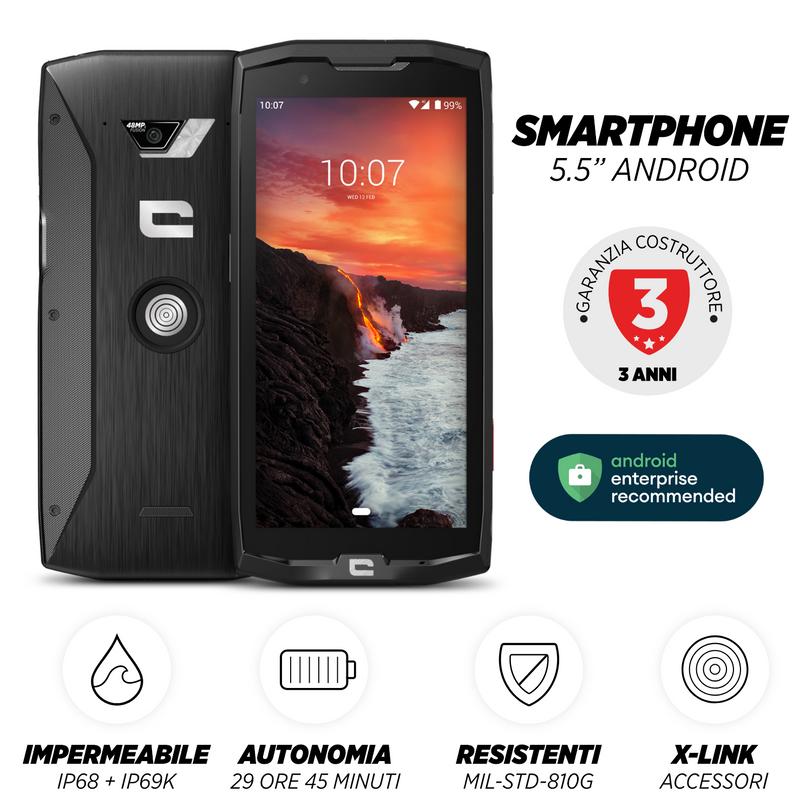 Smartphone resistente Core-X4 con 4GB RAM e 64GB Memoria Flash