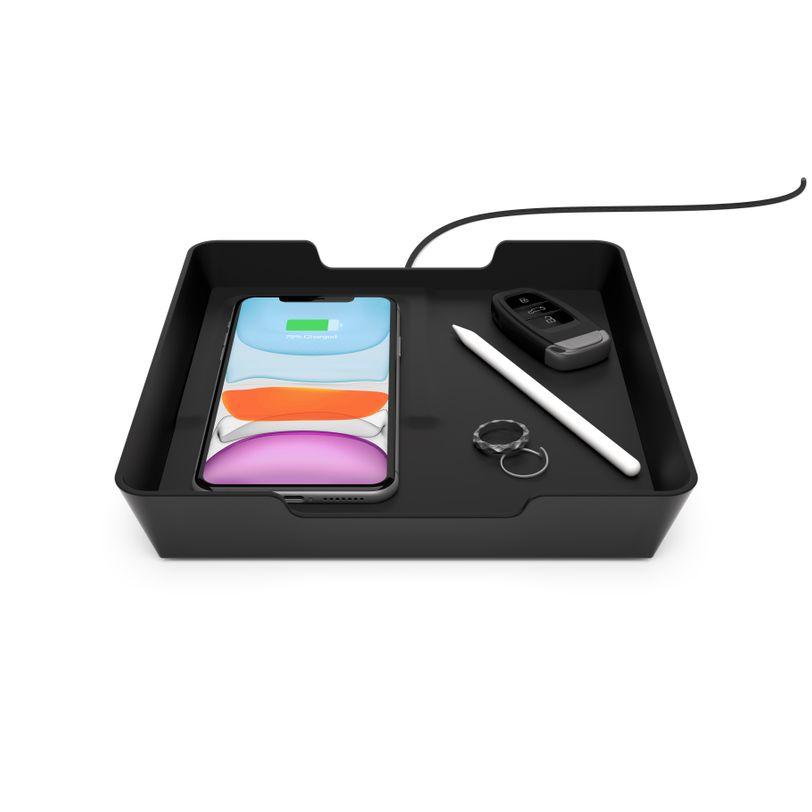 Vassoio portaoggetti soft touch con ricarica wireless rapida 10W e porta USB-A